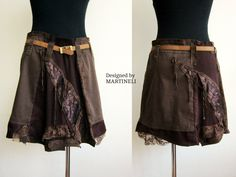 Brown Recycled Denim Skirt, Patchwork Skirt, Gypsy Skirt, Hippie Skirt, Recycled Sweaters, Boho Skirt, Denim Skirt  I designed and constructed this