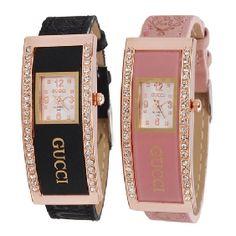 $4.66 Elegant Diamond Decoration Leather Strap Ladies Wrist Watch www.wallydeal.com...