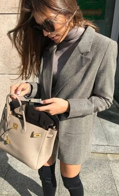 how to style a grey blazer : bag + sweater + black over the knee boots