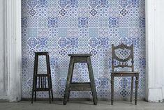Behang blauwe tegeltjes | hip behang
