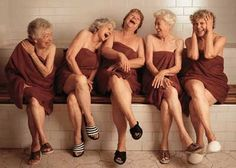 !sauna time w my sisters it's been a long long time - vinegar for rinse?!! Squeeeky hair? Oh ya!