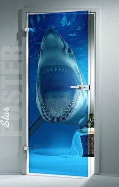 "GIANT Door Window TRANSPARENT STICKER shark water ocean sea decole film poster 31x79""(80x200 cm) | pulaton - Print on Ar"