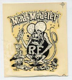 Vt. Ed Roth Decal RAT FINK Mad Modeler Hot Rod Kustom Kulture Drag Race Biker