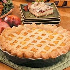"Peach Pie Recipe -""I acquired this delicious recipe some 40 years ago, when my husband and I first moved to southern Iowa and had peach trees growing in our backyard,"" writes June Mueller from Sioux City, Iowa. ""It's been a family favorite since then and always brings back memories of both summer and those happy early years. We like it with a scoop of vanilla ice cream and cup of tea."""