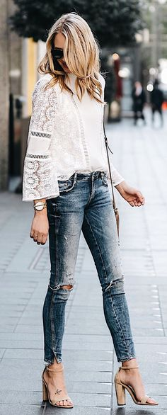 #spring #outfits White Crochet Blouse + Destroyed Skinny Jeans + Nude Sandals