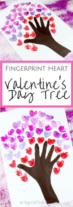 Arty Crafty Kids Valentines Day Crafts for Kids Fingerprint Heart Valentine's Day Tree art for kids Valentines Bricolage, Kinder Valentines, Valentine Tree, Valentines Crafts For Kindergarten, First Valentines Day Baby, Daddy Valentine, Valentine Party, Valentines Day Hearts, Kindergarten Classroom