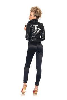 Black Bad Sandy T-Birds Faux Leather Jacket Licensed Grease Costume