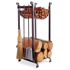 The Enclume Sling Indoor Firewood Rack with Tools is a timeless combination of utility with elegant vertical design. You can stack lots of firewood and kindling into just over a square foot of floor space. Indoor Firewood Rack, Firewood Holder, Firewood Storage, Fireplace Logs, Fireplace Tool Set, Fireplaces, Log Holder Fireplace, Range Buche, La Forge