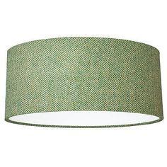 Green Herringbone Harris Tweed Lampshade - bedroom