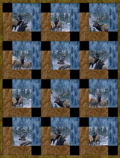 Elk Country Winter Pre-Cut Quilt Blocks Kit from Quilt Kit Shop - The Quilt Kit Shop for quilt kits pre-cut