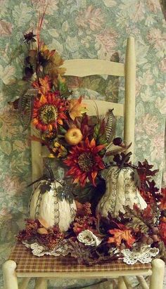 Fall chair with swag, doilies, white pumpkins