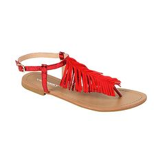 Via Pinky Collection Red Fringe-Accent Coralie Sandal ($9.99) ❤ liked on Polyvore featuring shoes, sandals, boho sandals, ankle tie sandals, boho fringe sandals, bohemian style sandals and ankle strap sandals