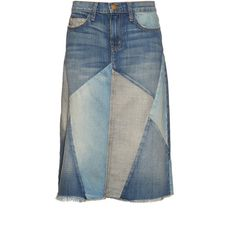 Current/Elliott Patchwork denim skirt ($248) ❤ liked on Polyvore featuring skirts, jeans, denim, midi skirt, blue high waisted skirt, vintage denim skirt, blue skirt and vintage midi skirt