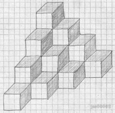 3d Art Drawing, Pixel Drawing, Geometric Drawing, Cool Art Drawings, Geometric Art, Easy Drawings, Drawing Ideas, Graph Paper Drawings, Graph Paper Art