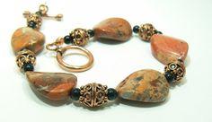 Red Jasper and Copper Bead Bracelet by 3cedarsjewelry on Etsy, $47.00