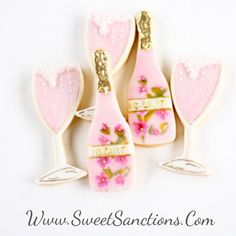 a950389957 Half Dz. Champagne and Glasses Cookie Set! SWIPE LEFT for more pics! Hand  Painted Elegance with a Pink Stem of Bubbly