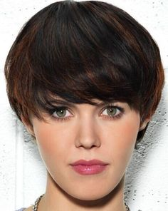Short Hairstyle Ideas: Brown Highlights with Black Hair