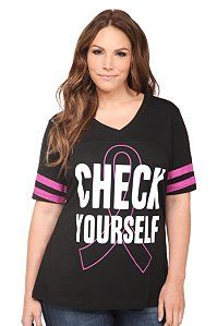 $34.50 Black Check Yourself V-Neck Hockey Tee | Show Your Support