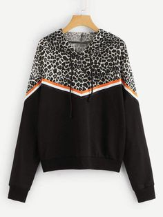 Buy Leopard Contrast Striped Leisure Long Sleeve Hoodie Casual Hooded Pullover Sweatshirt 2018 Autumn Women Casual Tops - Multi - and Find more Women's Hoodies & Sweatshirts enjoy up to off. Uganda, Clothes 2019, Casual Clothes, Casual Tops For Women, Men Casual, Cool Hoodies, Cheap Hoodies, Bridal, Pullover