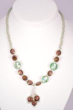Aquamarine Bronze Glass Bead Necklace 17 inch by FiveLeavesFound, $36.00