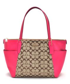 Another great find on #zulily! Khaki & Pink Ava Signature Tote #zulilyfinds