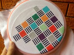22 months ago, during the in-between 'funemployement' phase of finishing university and starting full-time work, I started playing around… Cross Stitch Cushion, Cross Stitch Owl, Cat Cross Stitches, Cross Stitch Borders, Cross Stitching, Cross Stitch Embroidery, Knit Stitches, Cross Stitch Geometric, Modern Cross Stitch Patterns