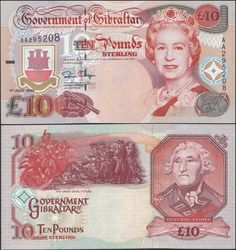 Gibraltar 10 Pous, 1995, 26 Folding Money, Money Worksheets, Puerto Rico History, Money Notes, Coin Values, World Coins, Coin Collecting, 10 Pounds, Vintage World Maps