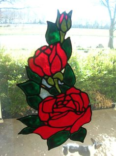 Rose and rose bud stained glass window Cling by windows2thesoul, $6.00