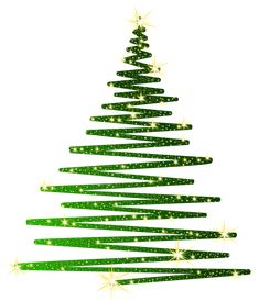 Green Christmas Shining Tree PNG Clipart