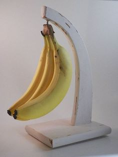 $17 Shabby Chic Kitchen Decor - Banana Hanger Holder - Wooden 12 Inches Tall