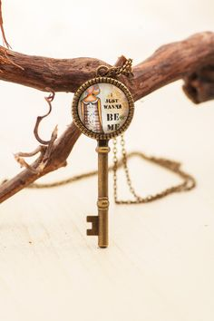 Just Wanna Be Me Key Charm Pendant, Art Photo Key Pendant with Meaning, Inspirational Boho Chic Unique Pendant, Gift for Friend, For Women