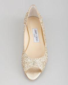 Jimmy Choo Beck Open-Toe Glitter Flat, Champagne - Neiman Marcus