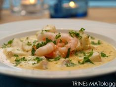 Fennikelsuppe med torsk og reker | TRINES MATBLOGG Potato Salad, Side Dishes, Potatoes, Meat, Chicken, Cooking, Ethnic Recipes, Beef, Side Plates