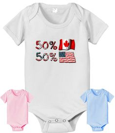 50 Canadian 50 American USA baby infant  by CustomTeesForTots, $14.25