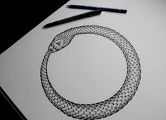 Ouroboros Snake - One. First of a set of two I am working on for a commission.. snake skin is tough!