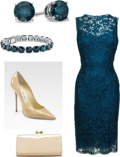 Beautiful teal lace dress.