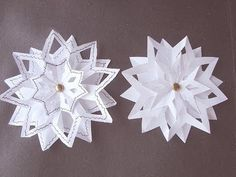 SNOWFLAKE #4, 3 layer snowflake, paper folding, Christmas star ornament, paper crafts