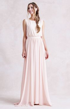 Chic Rustic Bateau Neck Sleeveless Long A-line Chiffon Bridesmaid Dress
