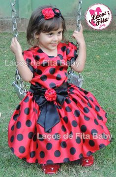 Vestido de Cetim Joaninha | Laços de Fita Baby | 37506B - Elo7