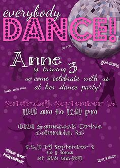 Dance Party Birthday Invitation by NovemberBlueDesigns, $15.00