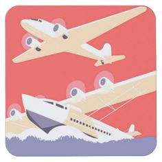 Airplanes Flying Vintage Propeller Planes Square Paper Coaster
