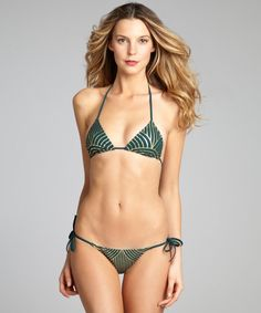 Forest and Gold Striped 'Deco' Two Piece Bikini #Bikini #Tie #Women #IntimatesLoungewear