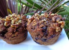 These are a delicious, sugar fee, oil-free, yet moist muffin. They are easy to make and we often prepare them the day before if we will be s. Blueberry Bread, Blueberry Breakfast, Breakfast Muffins, Breakfast Recipes, Vegan Breakfast, Muffin Recipes, Whole Food Recipes, Vegan Recipes, Plant Based Whole Foods
