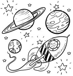 Doodle space planets rocket ship stars explore vector 1112511 - by lhfgraphics o. Doodle space planets rocket ship stars explore vector 1112511 - by lhfgraphics o. Planet Coloring Pages, Space Coloring Pages, Free Coloring Pages, Printable Coloring, Coloring Sheets, Kids Coloring, Rocket Drawing, Ship Drawing, Drawing Style