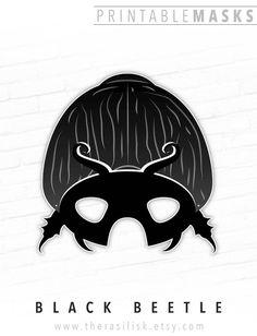 Black Beetle Printable Mask, Scarab Mask, Dung # #blackbeetle #printablemask #scarabmask #dungbeetle #bugmask #insectmask #divingbeetle #rhinobeetle #halloween #partymask #forkids #egypt #photoboothprop Rhino Beetle, Beetle Insect, Beetle Bug, Printable Halloween Masks, Printable Masks, Printables, Free Printable, Animal Themed Birthday Party, Black Beetle