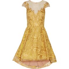 Marchesa Notte - Embroidered Metallic Tulle Mini Dress ($358) ❤ liked on Polyvore featuring dresses, yellow, marchesa, belle, tulle, vintage mini dress, yellow dress, yellow vintage dress, vintage dresses and yellow mini dress