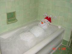 Snowman in bathtub