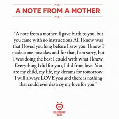 A note from a mother!!!