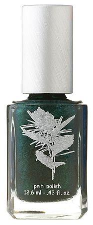 Priti NYC - Devil's Backbone. Deep green shimmer with silver undertone. $12.50 #vegan #nailpolish