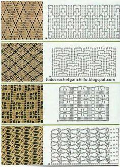 Hermosa selección de puntos / puntadas para tejer con ganchillo, con sus respectivas muestras tejidas. Son puntos ideales para tejer prendas...